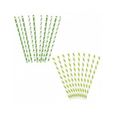 Slamky papierove zelene 10ks