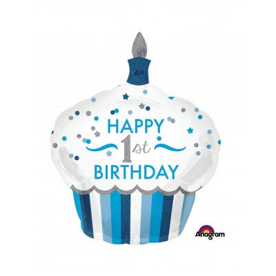 Balon cupcake 1 rok modry