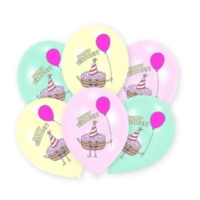 6 latex balonov cupcake