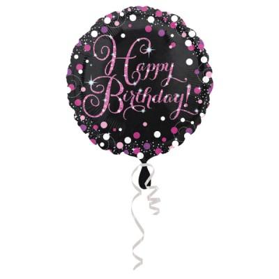 Balon Happy Birthday Cierny...