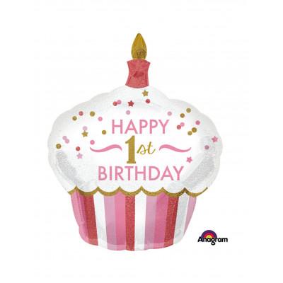 Balon cupcake 1 rok ruzovy