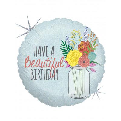 Balon Happy Birthday kvety...