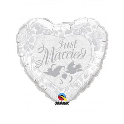Balon srdce Just married 45cm